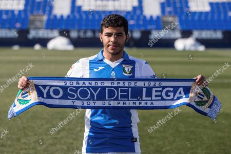 Saudi Arabian midfielder Yahya Al-Shehri poses for the photographers during his presentation as new Leganes player at Butarque stadium in Leganes, Madrid, Spain, 01 February 2018.