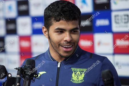 Saudi Arabian midfielder Yahya Al-Shehri speaks to journalists during his presentation as new Leganes player at Butarque stadium in Leganes, Madrid, Spain, 01 February 2018.