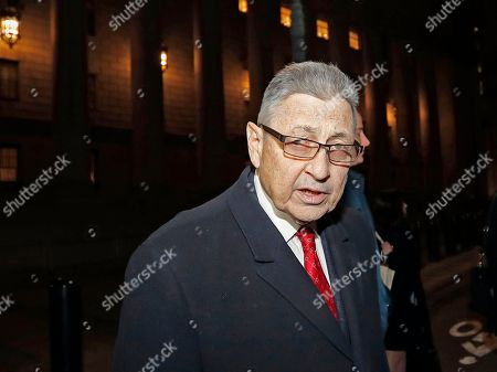 Former New York State Assembly Speaker Sheldon Silver leaves federal court, in New York, after attending a pretrial hearing to discuss his retrial. A federal appeals court in July, 2017 overturned Silver's 2015 corruption conviction. Silver had been convicted on charges that he had obtained nearly $4 million in illicit payments in return for taking a series of official actions that benefited others