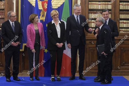Italy Minister of Economy Pier Carlo Padoan, French Defense minister Florence Parly, Italy Defense minister Roberta Pinotti, French Minister of Economy Bruno Le Maire, Ceo Fincantieri Giuseppe Bono and Minister of Industry Carlo Calenda attend a meeting on Italian French naval military cooperation