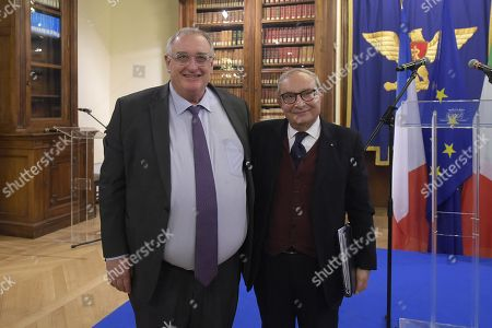 Stock Picture of Ceo Fincantieri Giuseppe Bono (R) and Ceo Naval Group Herve Guillou (L) attend a meeting on Italian French naval military cooperation