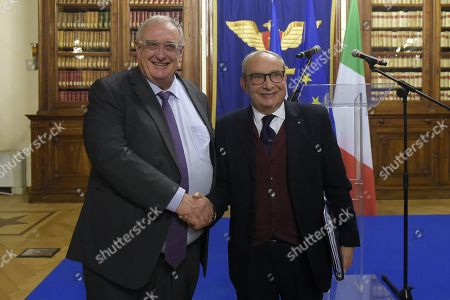 Ceo Fincantieri Giuseppe Bono (R) and Ceo Naval Group Herve Guillou (L) attend a meeting on Italian French naval military cooperation