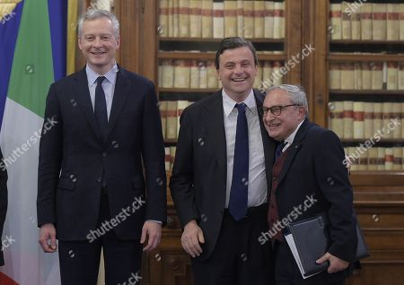 French Minister of Economy Bruno Le Maire, Ceo Fincantieri Giuseppe Bono and Minister of Industry Carlo Calenda attend a meeting on Italian French naval military cooperation