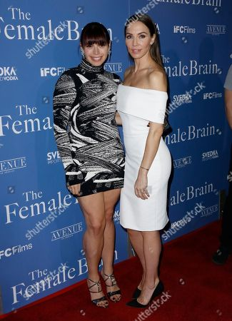 """Erika Olde, Whitney Cummings. Erika Olde, left, and Whitney Cummings arrive at the Los Angeles premiere of """"The Female Brain"""" at ArcLight Hollywood on"""
