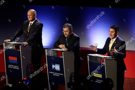 Rodolfo Piza, Juan Diego Castro, Fabricio Alvarado. Presidential candidates, from left, Rodolfo Piza for the Social Christian Unity party, Juan Diego Castro for the National Integration party and Fabricio Alvarado for the National Restoration party, attend a live, televised debate ahead a the presidential election in San Jose, Costa Rica, . Costa Rica will hold general elections on Sunday, Feb. 4