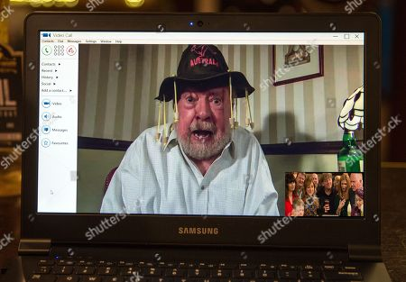 Ep 8074 Monday 19th February 2018 Laurel Thomas, as played by Charlotte Bellamy, arranges a video call to the Woolpack and Sandy Thomas, as played by Freddie Jones, Thomas makes a final toast as he says his goodbyes.
