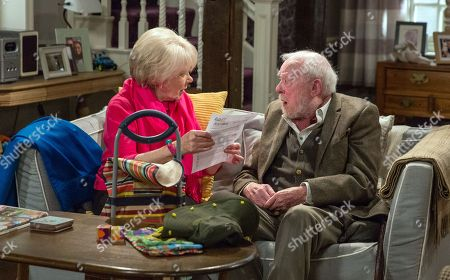 Ep 8071 Thursday 15 February 2018 - 1st Ep Maisie, as played by Wendy Craig, tells Sandy Thomas, as played by Freddie Jones, she's leaving tomorrow and he does his best to hide his disappointment. Maisie hands him an envelope with tickets to Australia. And an emotional Sandy wonders what to do.