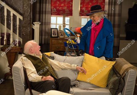 Ep 8068 Monday 12 February 2018  Getting off a tour bus a lady, Maisie, as played by Wendy Craig, determinedly heads for Mulberry Cottage. She tells Sandy Thomas, as played by Freddie Jones, she's there on behalf of her friend Betty Eagleton and gives him some gifts sent from Betty.
