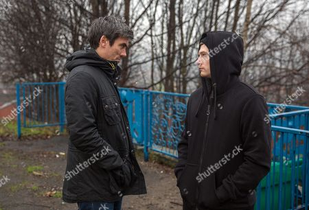 Ep 8064 Wednesday 7 February 2018  Cain Dingle, as played by Jeff Hordley, buys cocaine from Simon, as played by Liam Ainsworth, and offers him more money to plant the drugs at Joe's party. Simon agrees but Graham is secretly watching.