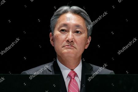 Kazuo Hirai, Sony's Director, Representative Corporate Executive Officer, President and Chief Executive Officer attends a news conference at company's headquarters, Tokyo, Japan.