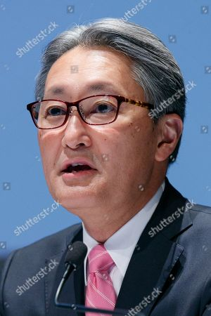 Kazuo Hirai, Sony's Director, Representative Corporate Executive Officer, President and Chief Executive Officer speaks during a news conference at company's headquarters, Tokyo, Japan.