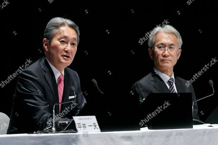 (L to R) Kazuo Hirai, Sony's Director, Representative Corporate Executive Officer, President and Chief Executive Officer and Kenichiro Yoshida, Sony's Director, Representative Corporate Executive Officer, Executive Deputy President and Chief Financial Officer speak during a news conference at company's headquarters, Tokyo,