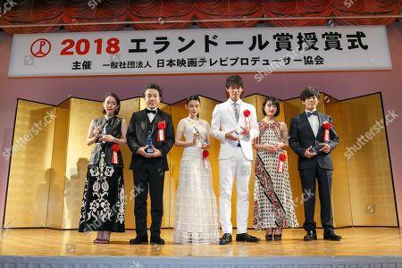 Stock Picture of (L to R) Japanese actors Riho Yoshioka, Tsuyoshi Muro, Hana Sugisaki, Ryoma Takeuchi, Mugi Kadowaki and Issei Takahashi