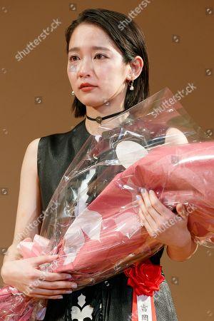 Stock Photo of Japanese actress Riho Yoshioka cries
