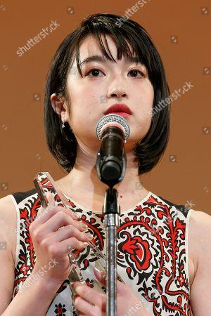 Stock Photo of Japanese actor Mugi Kadowaki speaks