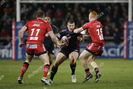 Josh Jones and Josh Wood during the Salford Red Devils vs Wigan Warriors in the Betfred Super League at the AJ Bell Stadium, Eccles