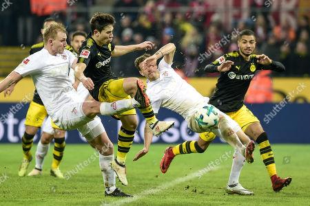 Football : Germany -1. Bundesliga  2017/18  1. FC Koeln Vs Borussia Dortmond 02/02/2018 - Frederik Soerensen (1. FC Koeln), Raphael Guerrero (Borussia Dortmund)  , Simon Zoller (1. FC Koeln)