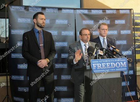 Andrew Marcantel, Marc Victor, Douglas Haig. Criminal defense lawyers, Andrew Marcantel, left, and Marc Victor, middle, stand with their client, Douglas Haig, right, at a news conference in Chandler, Ariz., . Haig, a 55-year-old aerospace engineer who sold ammunition as a hobby for about 25 years, said he met Stephen Paddock at a Phoenix gun show in the weeks before the Oct. 1 shooting in Las Vegas that killed 58 people and injured hundreds more. Haig said he was shocked and sickened when a federal agent informed him of the massacre 11 hours after it unfolded. It's unknown whether the ammunition he sold to Paddock was used in the attack