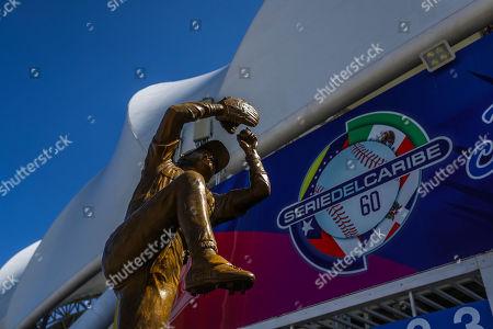 A statue of Mexican former Major League Baseball pitcher Fernando Valenzuela at the entrance of the Charros de Jalisco Stadium, in Guadalajara, Mexico