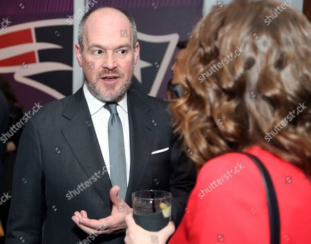 Rich Eisen talks to guests at the NFLN Super Bowl LII media party, in Minneapolis