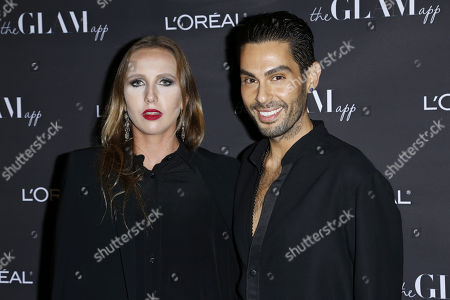 Joey Maalouf, Allegra Versace. Joey Maalouf, right, and Allegra Versace attend the Celebration of The Glam App's Re-launch at The Jeremy hotel, in West Hollywood, Calif