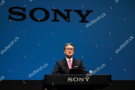 Stock Photo of Outgoing Sony Corp. President Kazuo Hirai attends a press conference at the company's headquarters in Tokyo