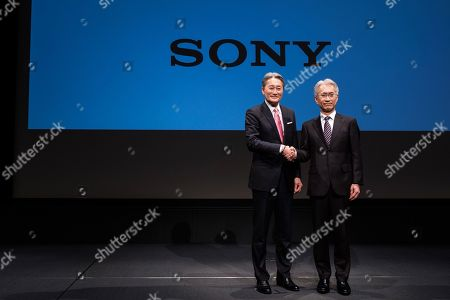 Outgoing Sony Corp. President Kazuo Hirai (L) and newly appointed President Kenichiro Yoshida (R) attend a press conference at the company's headquarters in Tokyo
