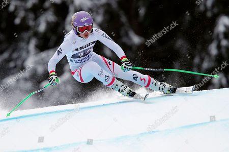 Austria's Anna Fenninger competes during an alpine ski, women's world Cup downhill race, in Garmisch Partenkirchen, Germany