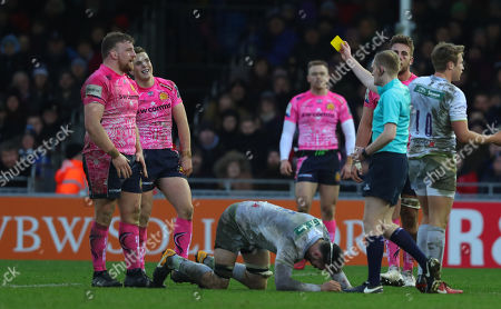 Moray Low of Exeter Chiefs is shown a yellow card and sent to the sin bin by Referee, Elgan Williams during the Anglo-Welsh Cup match between Exeter Chiefs and Saracens at Sandy Park on February 3rd 2018, Exeter, Devon (