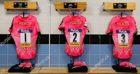 General view of the Exeter Chiefs changing room with the shirts of Moray Low of Exeter Chiefs, Jack Innard of Exeter Chiefs and Greg Holmes of Exeter Chiefs before the Anglo-Welsh Cup match between Exeter Chiefs and Saracens at Sandy Park on February 3rd 2018, Exeter, Devon (