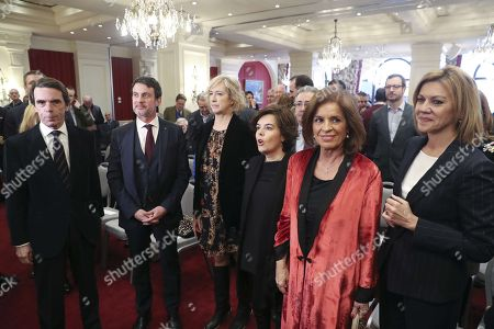Spanish deputy Prime Minister, Soraya Saenz de Santamaria (3R), French former Prime Minister, Manuel Valls (2L), president of the Gregorio Ordonez Foundation, Ana Iríbar (3L), former Spanish Prime Minister, Jose Maria Aznar (L), his wife, Ana Botella (2R) and Spanish Minister of Defense, Maria Dolores de Cospedal (R), attend the Gregorio Ordonez awarding ceremony held by the Gregorio Ordonez Foundation in San Sebastian, Basque country, Spain, 03 February 2018. Valls receives this award for his 'patriotism against nationalisms' and his exigency to the political class of having 'a more historic view of Europe'. The Gregorio Ordonez Foundation receives its name from a Spanish polititian of the People's Party murdered back in 1995 by the Basque terrorist group ETA.