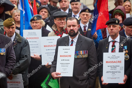 6879eb4481b Justice of Northern Ireland Veterans parade through central London. The  organization is campaigning against the