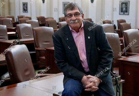 """Stock Photo of Oklahoma state Rep. Rick West -R-Heavener, poses for a photo in the House chamber at the Capitol in Oklahoma City, . West has introduced a bill requiring certain sex offenders to undergo so-called """"chemical castration"""" as a condition of release"""