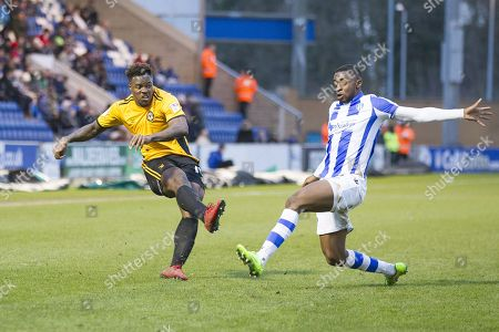Tyler Reid of Newport County whips in a cross as the visitors try and reduce the deficit during Colchester United vs Newport County, Sky Bet EFL League 2 Football at the Weston Homes Community Stadium on 3rd February 2018