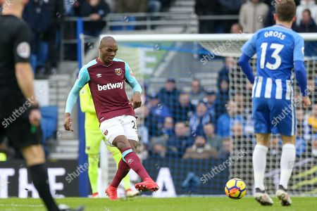 West Ham United defender Winston Reid (2) during the Premier League match between Brighton and Hove Albion and West Ham United at the American Express Community Stadium, Brighton and Hove. Picture by Phil Duncan