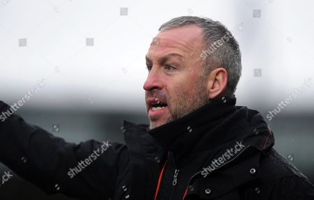 Stock Picture of Shaun Derry, Manager of Cambridge United during the Sky Bet League 2 Match between Yeovil Town and Cambridge United at Huish Park, Yeovil, Somerset, on February 3 2018