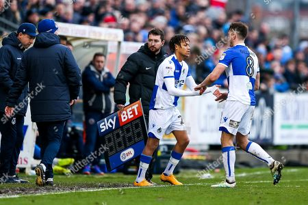 Kyle Bennett of Bristol Rovers makes his debut coming on for Ollie Clarke