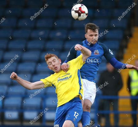 Glenavon vs Dungannon Swifts. Glenavon's Andrew Hall and Jarlath O'Rourke of Dungannon Swifts