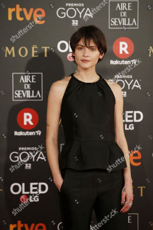 Spanish actress Alba Galocha poses as she arrives at the 32nd Goya Awards, celebrated at the Marriott Auditorium Hotel, in Madrid, Spain, 03 February 2018.