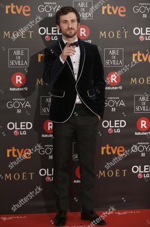 Spanish actor Raul Arevalo poses as he arrives at the 32nd Goya Awards, celebrated at the Marriott Auditorium Hotel, in Madrid, Spain, 03 February 2018.