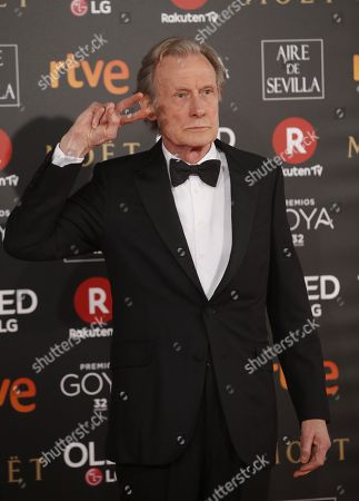 British actor Bill Nighy poses as he arrives at the 32nd Goya Awards, celebrated at the Marriott Auditorium Hotel, in Madrid, Spain, 03 February 2018.