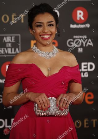 Mexican actress Adriana Paz poses as she arrives at the 32nd Goya Awards, celebrated at the Marriott Auditorium Hotel, in Madrid, Spain, 03 February 2018.