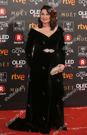 Spanish actress Adelfa Calvo poses as she arrives at the 32nd Goya Awards, celebrated at the Marriott Auditorium Hotel, in Madrid, Spain, 03 February 2018.
