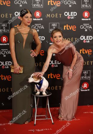 Spanish actresses Thais Blume (L) and Maria Esteve pose with 'Pancho' as they arrive at the 32nd Goya Awards, celebrated at the Marriott Auditorium Hotel, in Madrid, Spain, 03 February 2018.