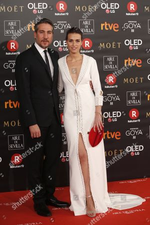 Spanish actor Alberto Ammann (L) and actress Clara Mendez pose as they arrive at the 32nd Goya Awards, celebrated at the Marriott Auditorium Hotel, in Madrid, Spain, 03 February 2018.