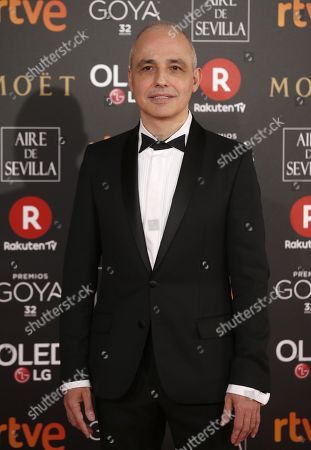 Stock Image of Spanish director Pablo Berger poses as he arrives at the 32nd Goya Awards, celebrated at the Marriott Auditorium Hotel, in Madrid, Spain, 03 February 2018.