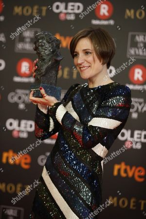 Producer Carla Simon poses with the Best New Director Goya for 'Verano 1993' during the 32nd Goya Awards, celebrated at the Marriott Auditorium Hotel, in Madrid, Spain, 03 February 2018.