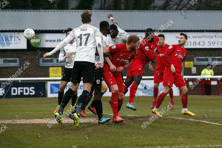 O's George Elokobi scores the opener during Dover Athletic vs Leyton Orient, Buildbase FA Trophy Football at the Crabble Athletic Ground on 3rd February 2018
