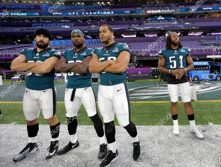 Joe Walker, Nigel Bradham, Jordan Hicks, end Steven Means. From left, Philadelphia Eagles inside linebacker Joe Walker, outside linebacker Nigel Bradham, middle linebacker Jordan Hicks, and defensive end Steven Means (51) prepare for a walk through for the NFL Super Bowl 52 football game at U.S. Bank Stadium, in Minneapolis. Philadelphia is scheduled to face the New England Patriots Sunday