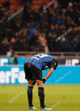 Inter Milan's Citadin Martins Eder shows his delusion at the end of an Italian Serie A soccer match between Inter Milan and Crotone, at the San Siro stadium in Milan, Italy